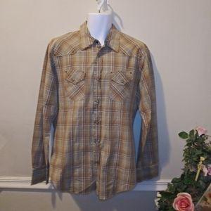 EUC Guess Men's Distressed Plaid Western Shirt